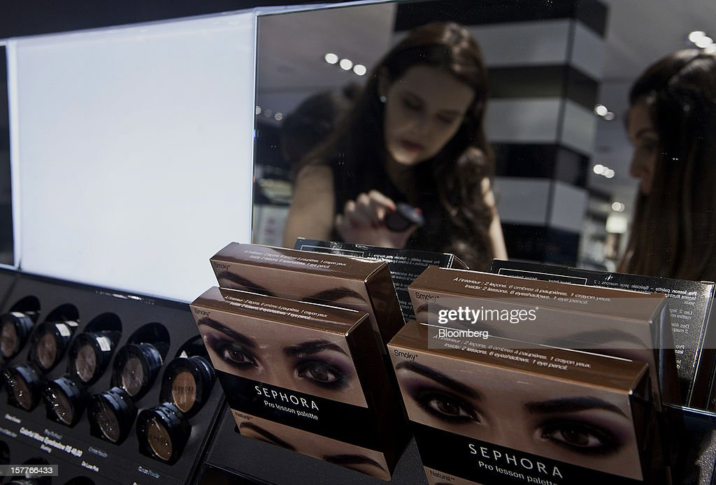 Beauty products are displayed as customers shop during the opening of a Sephora SA store at the Riosul shopping mall in Rio de Janeiro, Brazil, on Wednesday, Dec. 5, 2012. Sephora SA, a French beauty product retail chain, opened its first Brazil location earlier this year in July. Photographer: Dado Galdieri/Bloomberg via Getty Images