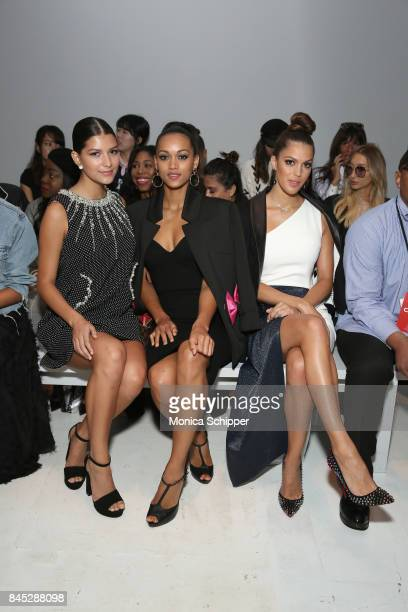 Beauty queens Sophia DominguezHeithof Kara McCullough and Iris Mittenaere attend Dan Liu fashion show during New York Fashion Week The Shows at...