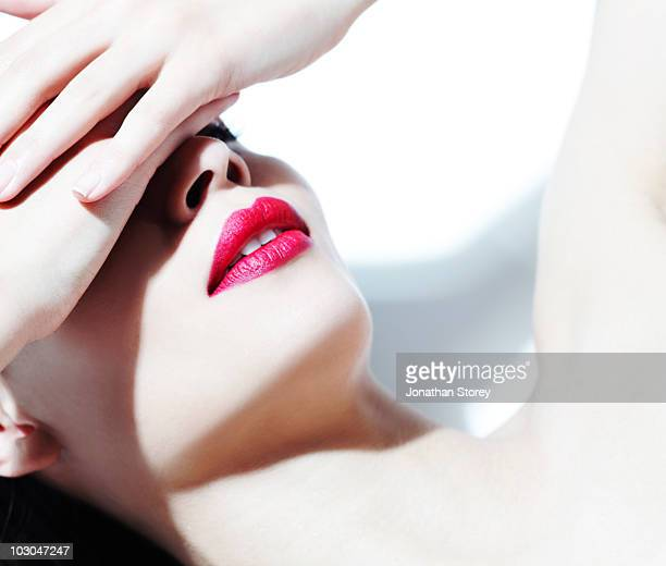 beauty shot . Girl with pink lip stick