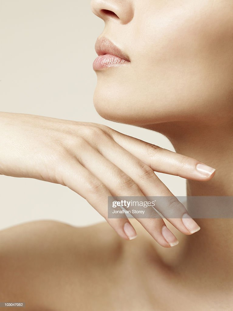 Beauty shot nails and fingers Girls profile : Stock Photo
