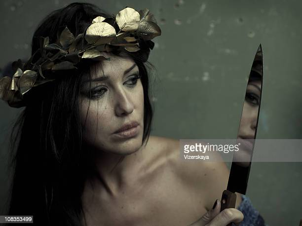 beauty with knife