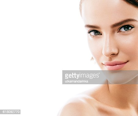 Beauty Woman face with perfect skin Portrait. Isolated on white. : Foto stock