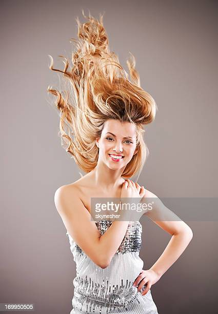 Beauty woman with flying hair.