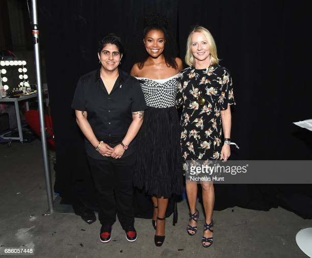 Beautycon CEO Founder Moj Mahdara Actress Gabrielle Union and Allure Founder Linda Wells attend the Beautycon Festival NYC 2017 on at Brooklyn Cruise...