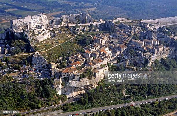 Beaux-de-Provence village, France, aerial view