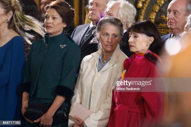 Beba Marinkovic Princess Linda Karadjordjevic Princess Jelisaveta Karadjordjevic during wedding of Prince Philip of Serbia and Danica Marinkovic at...