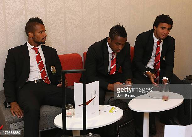 Bebe Anderson and Rafael da Silva of Manchester United relax in the departure lounge ahead of their flight to Stockholm to play AIK Fotbol in a...
