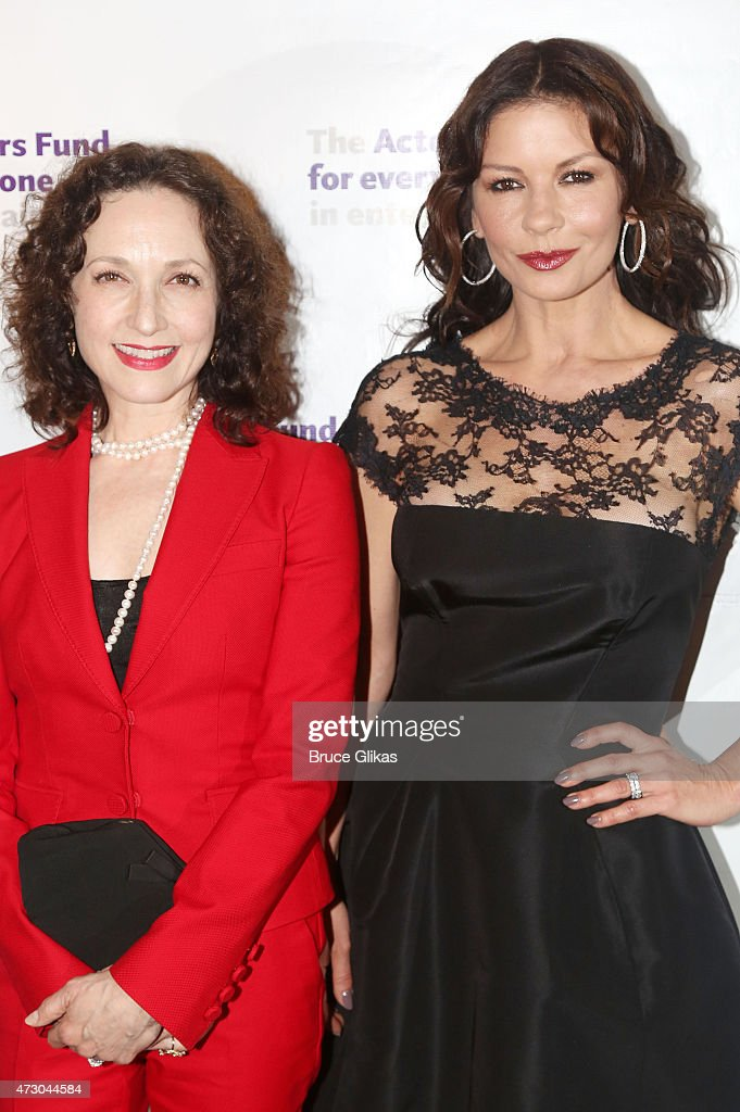 Bebe Neuwirth and Catherine Zeta-Jones (both ladies played 'Ve;ma Kelly' in the musical 'Chicago' Neuwirth won The Tony Award and Zeta-Jones won The Academy Award) pose at The2015 Actors Fund Gala at The New York Marriott Marquis on May 11, 2015 in New York City.