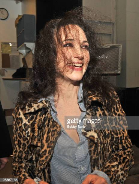 Bebe Neuwirth exits the stage doors of 'The Addams Family' at the LuntFontanne Theatre in Manhattan on March 19 2010 in New York City