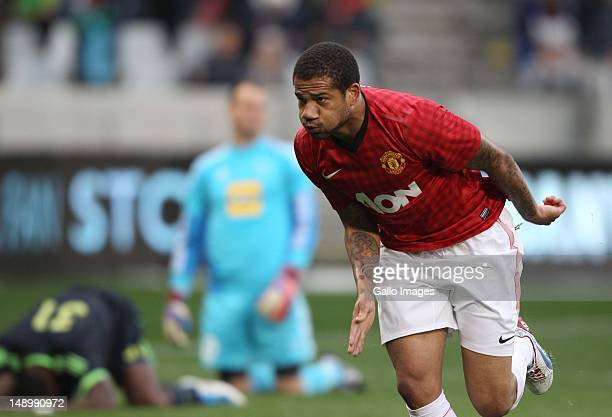 Bebe of Manchester United celebrates scoring during the MTN Football Invitational match between Ajax Cape Town and Manchester United at Cape Town...