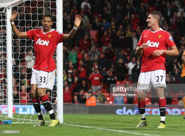 Bebe of Manchester United celebrates scoring their first goal during the Carling Cup Fourth Round match between Manchester United and Wolverhampton...