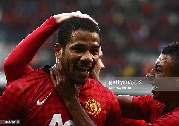 Bebe of Manchester United celebrates scoring their first goal during the preseason friendly match between Ajax Cape Town and Manchester United on...