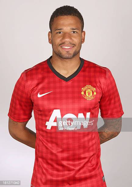 Bebe of Manchester United poses during a photocall at Carrington Training Ground on August 21 2012 in Manchester England
