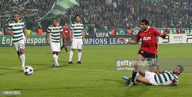 Bebe of Manchester United scores their third goal during the UEFA Champions League Group C match between Bursaspor and Manchester United at Ataturk...