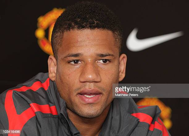 Bebe of Manchester United speaks at a press conference to unveil Manchester United's summer signings at Old Trafford on August 17 2010 in Manchester...