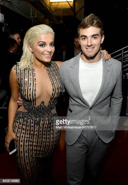 Bebe Rexha and Andrew Taggart of The Chainsmokers backstage during the 2017 MTV Video Music Awards at The Forum on August 27 2017 in Inglewood...