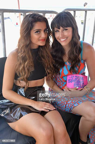 Bebe Rexha and Carly Henderson attend mtvU Spring Break 2014 at the Grand Oasis Hotel on March 21 2014 in Cancun Mexico 'mtvU Spring Break' starts...