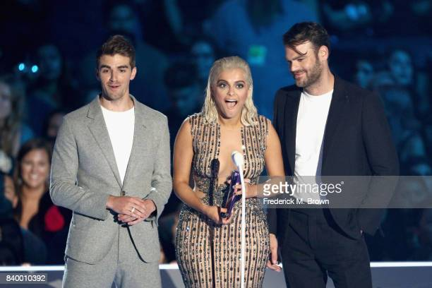 Bebe Rexha and The Chainsmokers' Andrew Taggart and Alex Pall speak onstage during the 2017 MTV Video Music Awards at The Forum on August 27 2017 in...