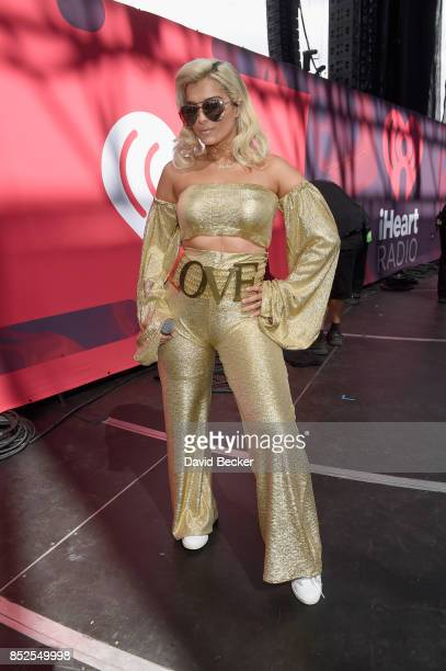 Bebe Rexha backstage during the Daytime Village Presented by Capital One at the 2017 HeartRadio Music Festival at the Las Vegas Village on September...