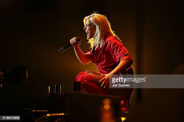 Bebe Rexha performs at Staples Center on April 8 2016 in Los Angeles California