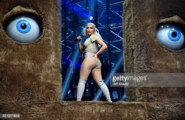 Bebe Rexha performs on stage at the MTV Europe Music Awards 2016 on November 6 2016 in Rotterdam Netherlands