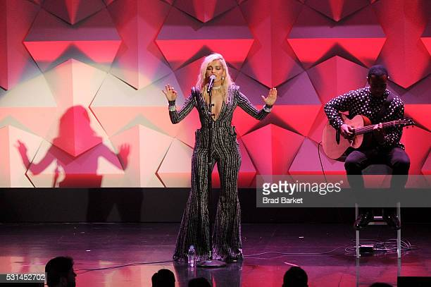 Bebe Rexha performs onstage at the 27th Annual GLAAD Media Awards hosted by Ketel One Vodka at the WaldorfAstoria on May 14 2016 in New York City