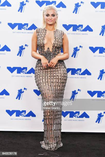 Bebe Rexha poses in the press room during the 2017 MTV Video Music Awards at The Forum on August 27 2017 in Inglewood California