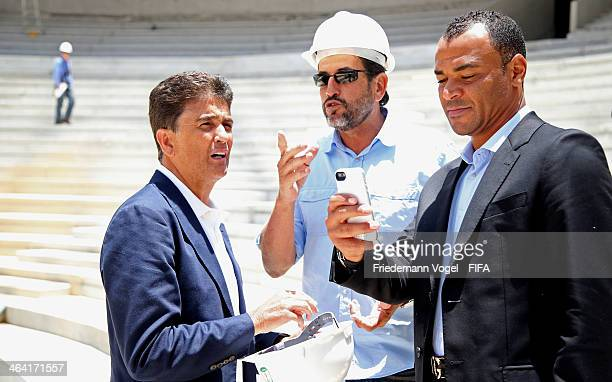 Bebeto and Cafu LOC member take a tour of the Arena da Baixada during the 2014 FIFA World Cup Host City Tour on January 21 2014 in Curitiba Brazil