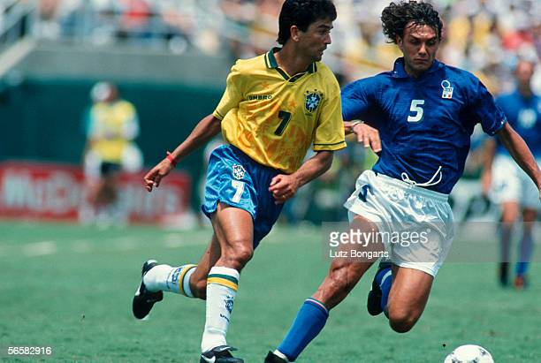 Bebeto of Brazil and Paolo Maldini of Italy in action during the World Cup final match between Brazil and Italy on July 17 1994 in Los Angeles USA