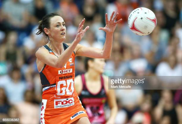 Bec Bulley of the Giants catches the ball during the round five Super Netball match between the Giants and the Thunderbirds at AIS on March 19 2017...