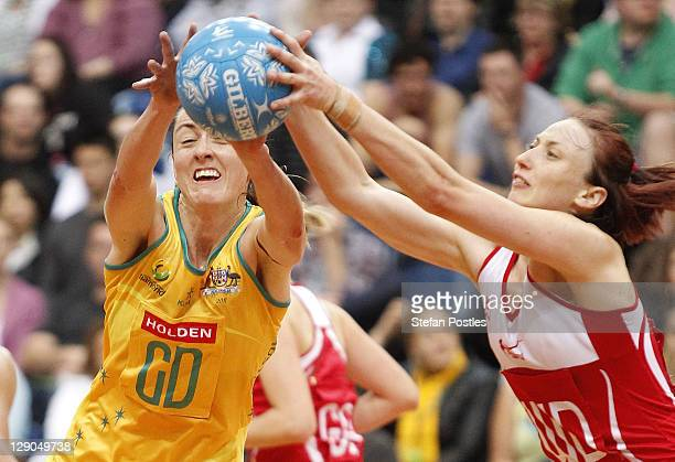 Bec Bully of Australia and Jade Clarke of England contest possession during game two of the International Test series between the Australian Diamonds...