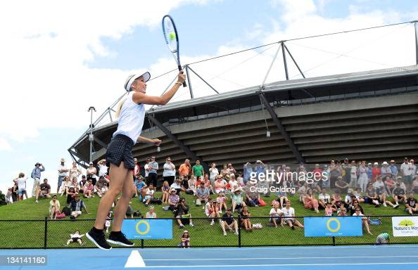 Bec Hewitt serves during the Apia International Sydney Lleyton Hewitt Charity Day at Sydney Olympic Park Tennis Centre on November 27 2011 in Sydney...