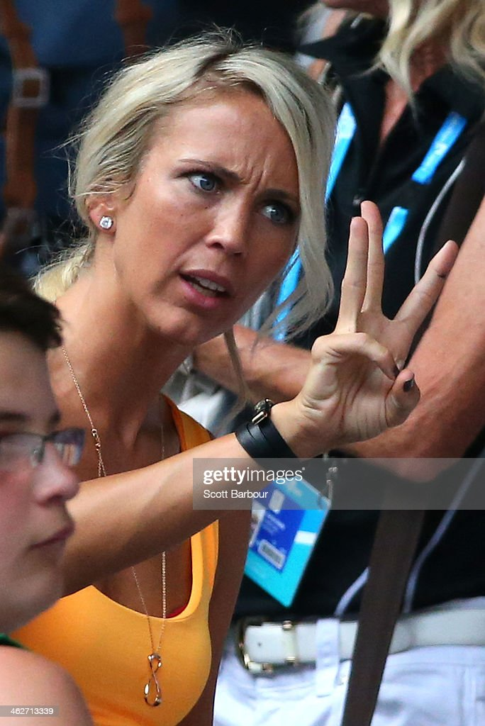 Bec Hewitt, wife of Lleyton Hewitt of Australia attends day three of the 2014 Australian Open at Melbourne Park on January 15, 2014 in Melbourne, Australia.