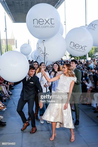 Bec Judd and Rohan Maclaren showcase designs during the VAMFF 2017 NEXT 'Under The Blade' runway show on March 16 2017 in Melbourne Australia