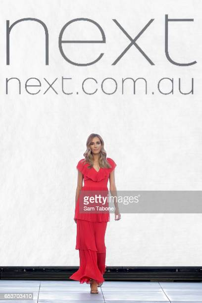Bec Judd showcases designs during the VAMFF 2017 NEXT 'Under The Blade' runway show on March 16 2017 in Melbourne Australia