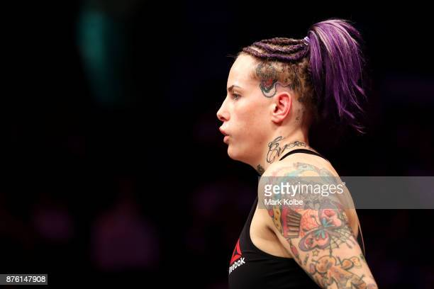 Bec Rawlings of Australia watches on before her fight against JessicaRose Clark of Australia in their women's flyweightbout during the UFC Fight...