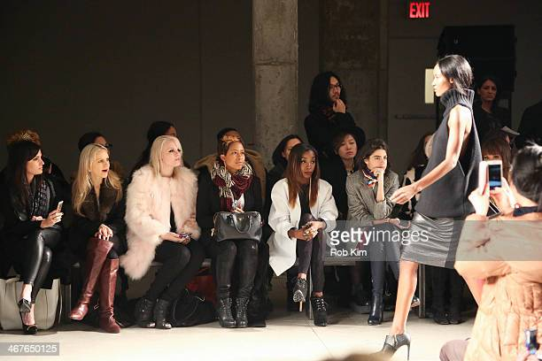 Becca Diamond Estelle Leandra Medine Alina Cho and Linda Fargo attend the Sally LaPointe show during MercedesBenz Fashion Week Fall 2014 at Skylight...