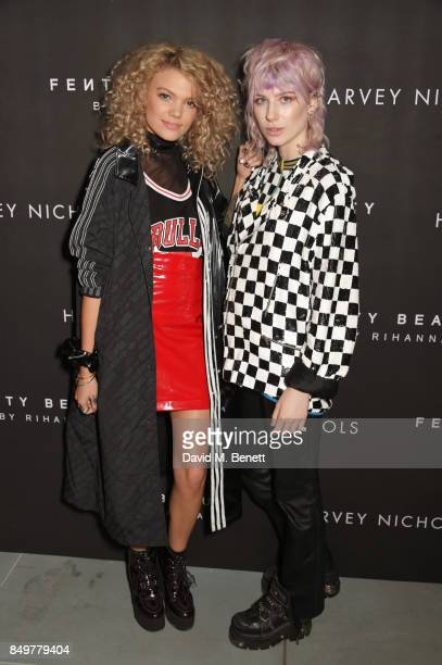 Becca Dudley and Charlie Barker attend the Fenty Beauty x Harvey Nichols launch at Harvey Nichols on September 19 2017 in London England