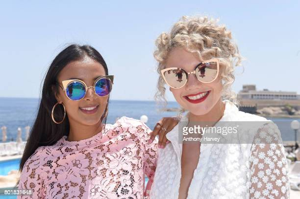 Becca Dudley and Maya Jama attend the press conference ahead of the annual Isle of MTV Malta event at Radisson Blu Hotel on June 27 2017 in St...