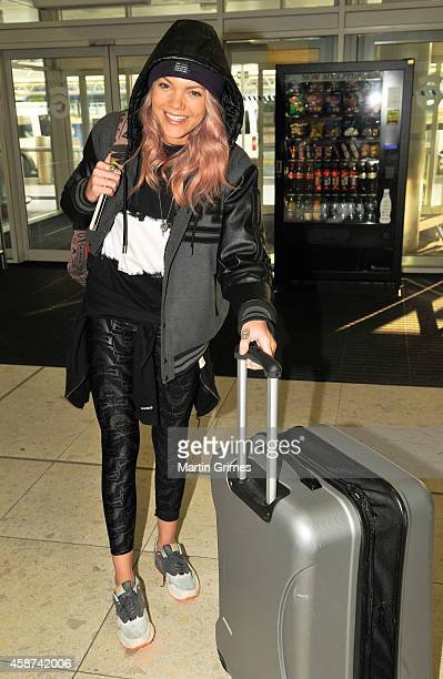 Becca Dudley MTV presenter leaves Glasgow the morning after the 2014 MTV Europe Music Awards on November 10 2014 in Glasgow Scotland