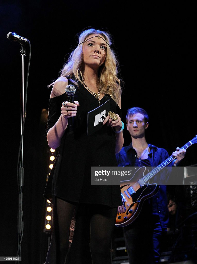 Becca Dudley MTV Presenter on stage for MTV Brand New For 2014 Showcase at Islington Assembly Hall on January 30, 2014 in London, United Kingdom.