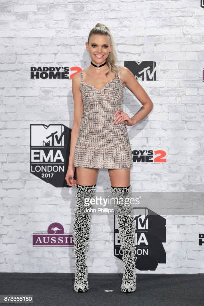 Becca Dudley poses in the Winners Room during the MTV EMAs 2017 held at The SSE Arena Wembley on November 12 2017 in London England