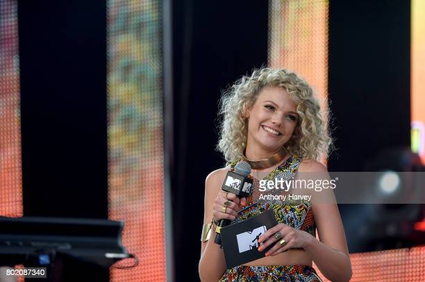 Becca Dudley presents on stage at the annual Isle of MTV Malta event at Il Fosos Square on June 27 2017 in Floriana Malta