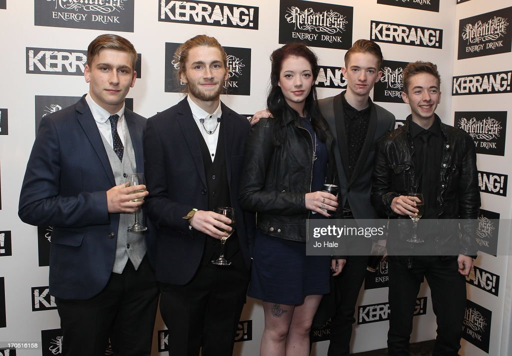Becca Macintyre with band the Marmozets attend The Kerrang! Awards at the Troxy on June 13, 2013 in London, England.