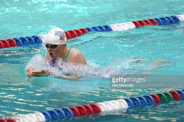 Becca Mann is seen during the Women 200 LC meter breaststroke prelims during day two of the Arena Pro Swim Series at the YMCA of Central Florida...
