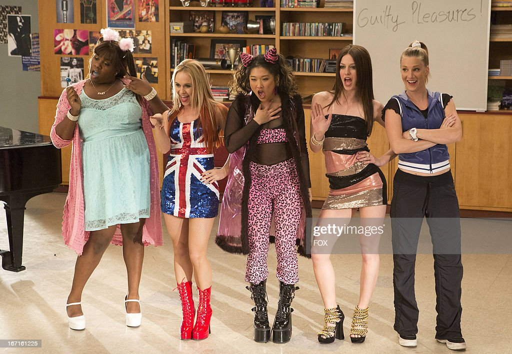 Becca Tobin, Alex Newell, Jenna Ushkowitz, Heather Morris and Melissa Benois in the 'Guilty Pleasure' episode of GLEE airing Thursday, March 21, 2013 (9:00-10:00 PM ET/PT) on FOX.