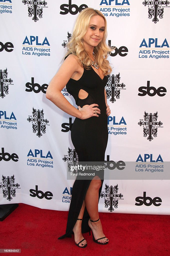 Becca Tobin arrives at APLA and The Abbey's 12th Annual 'The Envelope Please' Oscar Viewing Party at The Abbey on February 20, 2013 in West Hollwwod, California.