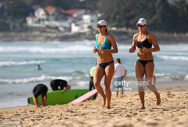 Becchara Palmer and Louise Bawden of Australia warm down after a match during day two of the National Beach Volleyball Series at Manly Beach on March...