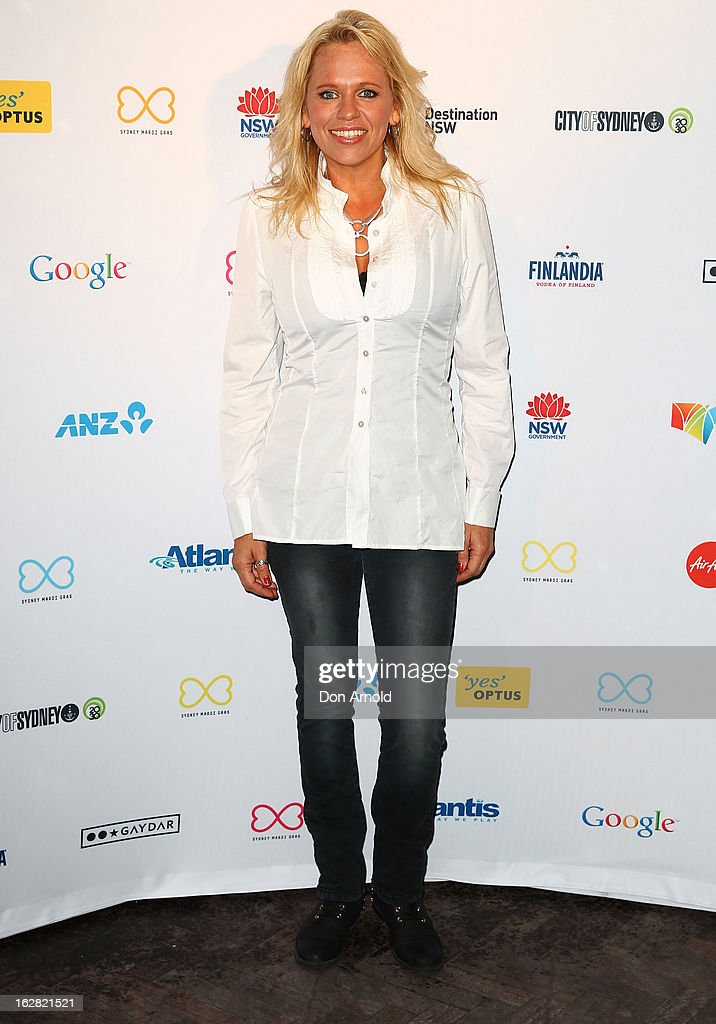 Beccy Cole poses at a Sydney Mardis Gras VIP party photo call at Kit and Kaboodle bar on February 28, 2013 in Sydney, Australia.