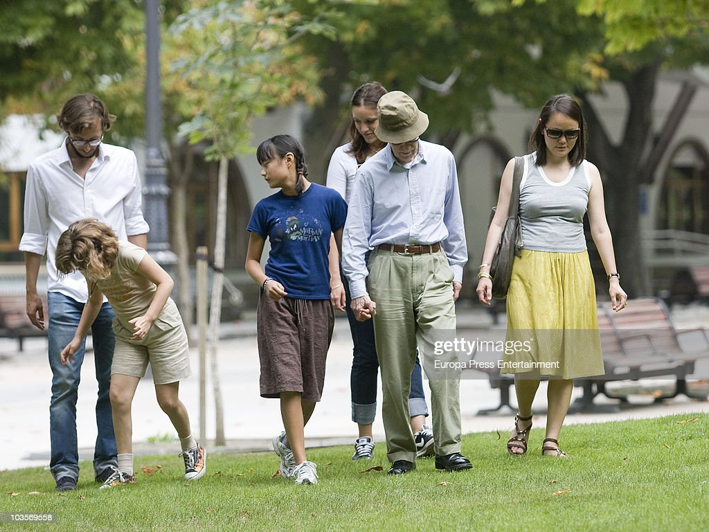Bechet Dumaine Allen, Manzie Tio, Woody Allen and Soon-Yi Previn go for a walk on August 24, 2010 in Oviedo, Spain.